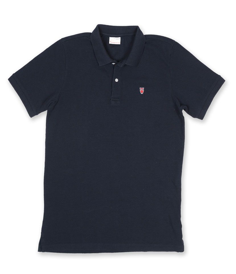 knowledge cotton apparel poloshirt darkblue dunkelblau poloshow. Black Bedroom Furniture Sets. Home Design Ideas
