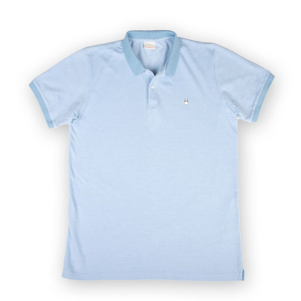 Knowledge Cotton Apparel Two Color Polo Pique Placid Blue ...