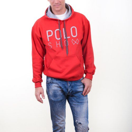 Poloshow Hoodie Red Grey 8