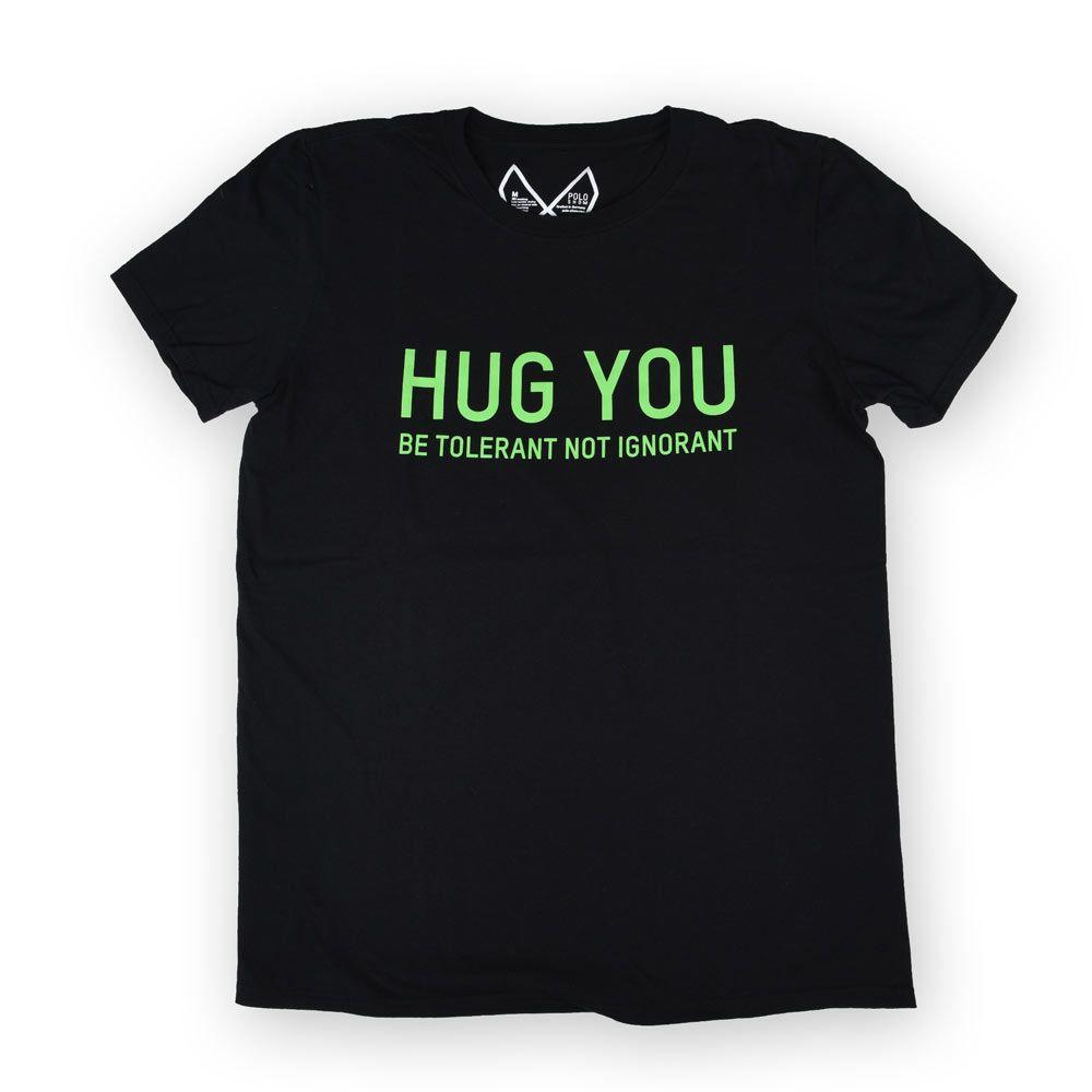 Poloshow Hug You T Shirts Schwarz Grün 1