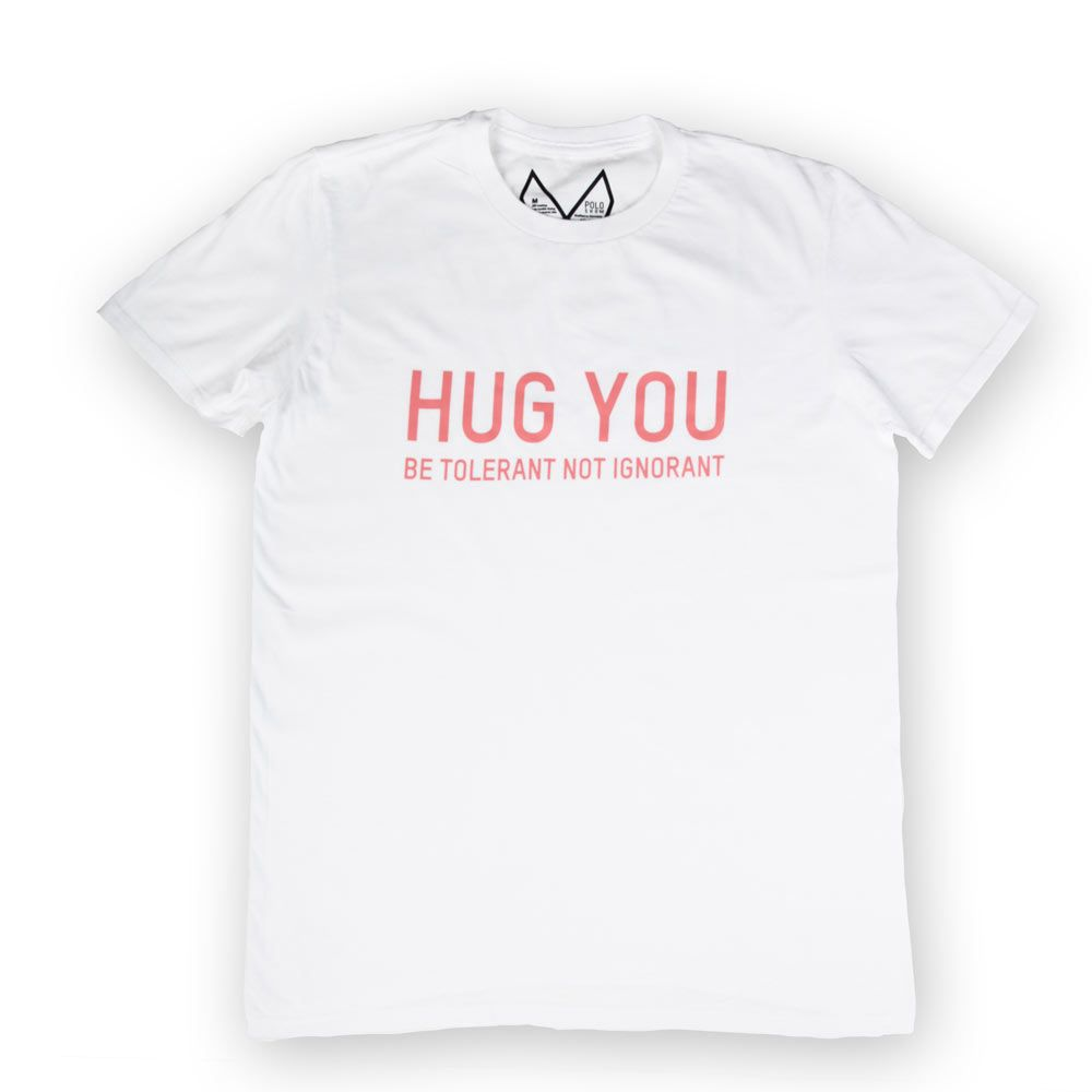 Poloshow Hug You T Shirts WeissPink 1
