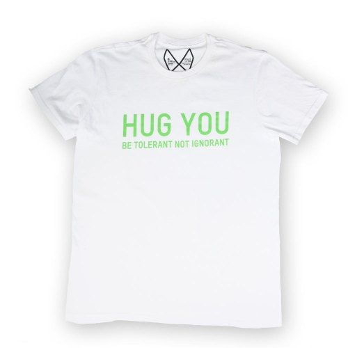 Poloshow Hug You T Shirts WeissGrün 1