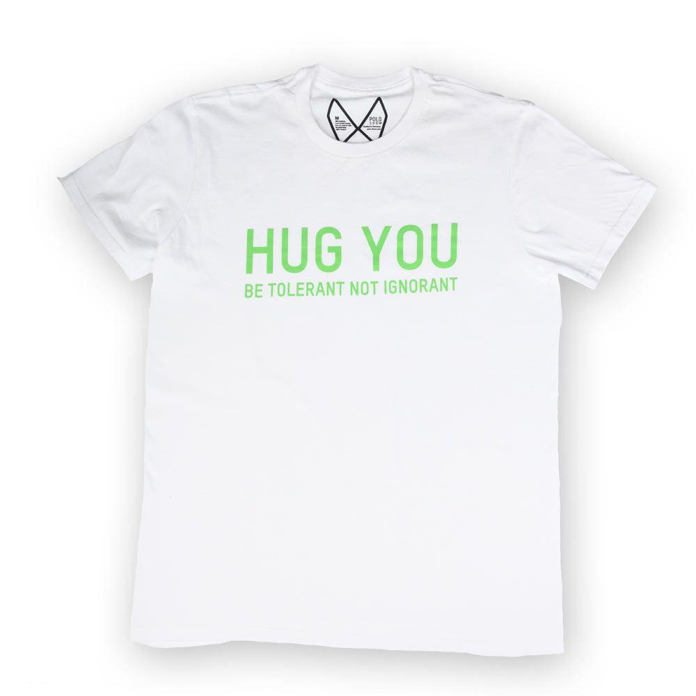 Poloshow Hug You T Shirts WeissGrün 1