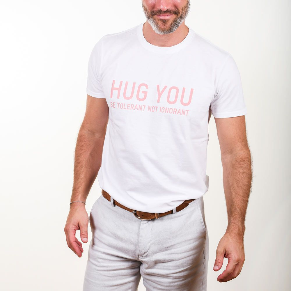 Poloshow Hug You T Shirts WeissPink 5